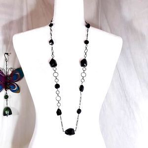 Black Faceted Glass Gunmetal Necklace 36''